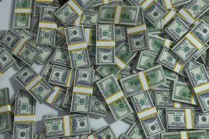 A large amount of wrapped up piles of money